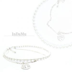 Kriauklių perlų ir 925sidabro kojos apyrankė/apykoje
